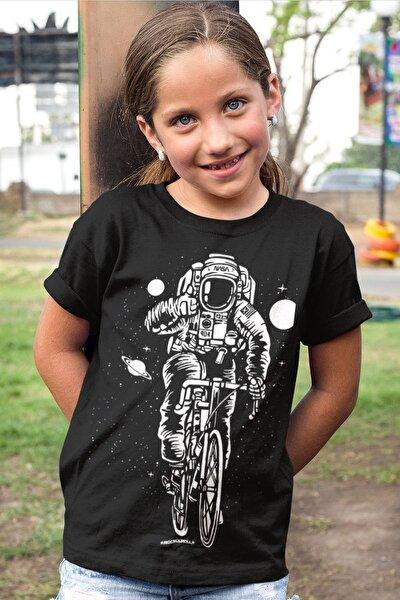 Bisikletli Astronot Siyah Kısa Kollu Kız Erkek Uniseks Çocuk T-shirt
