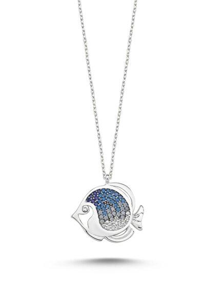 Kadın Nano Taşlı Mavi Tonlamalı Balık 925 Ayar Gümüş Kolye N86199