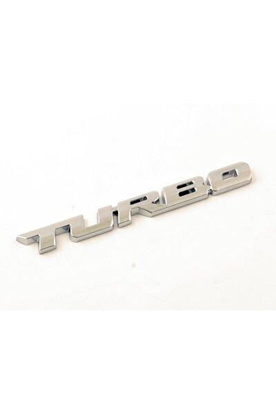 Turbo Metal Gümüş Amblem Dekoratif Paslanmaz