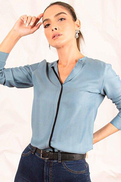 Kadın Indigo Önü Biyeli Bluz ARM-20K001023