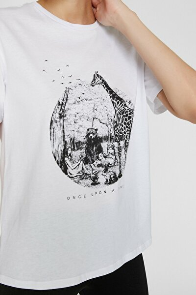 Kadın Ekru Love T-Shirt - Eva Karabudak Tasarimi 9YAL18946IK