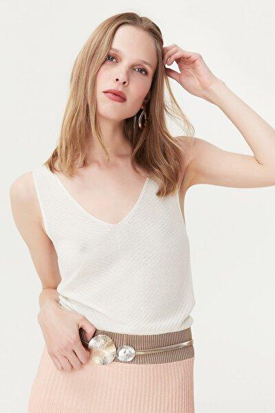 Kadın Pembe Çizgi Şeritli Örme Elbise IS1190002272033