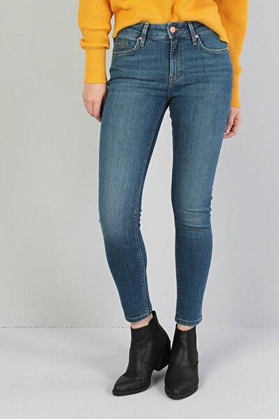 KADIN 759 Lara Orta Bel Dar Paça Super Slim Fit Mavi Kadın Jean Pantolon CL1045983