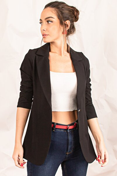Kadın Siyah Tek Düğmeli Ceket ARM-20K001020