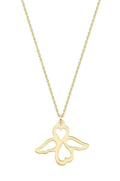 Kadın Altın Kalpli Kanat Kolye KLMK7095-24754