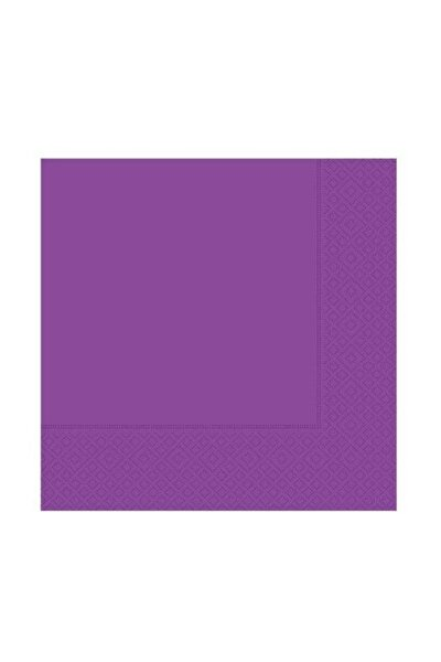 20 Adet Düz Mor Renk Peçete, Doğum Günü Partisi 33x33 cm Peçete