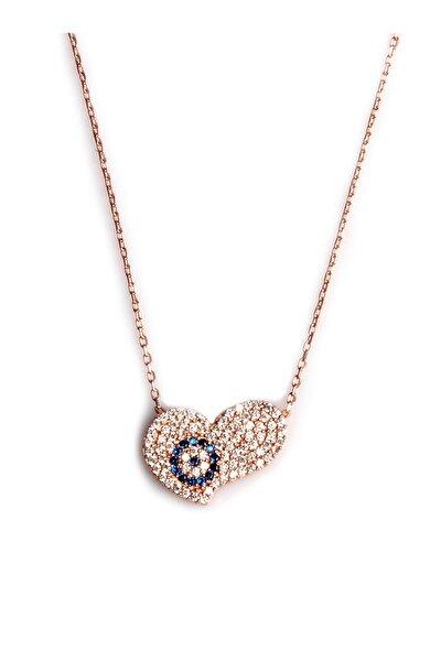 Zirkon Süslemeli Kalp Tasarım 925 Ayar Gümüş Kolye KLY-0066-40