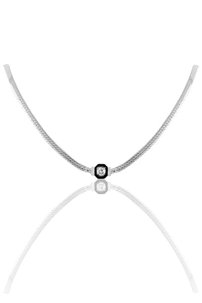 Gümüş Tek Taş Ve Mineli Balık Sırtı Zincirli Kolye SGTL10018RODAJ
