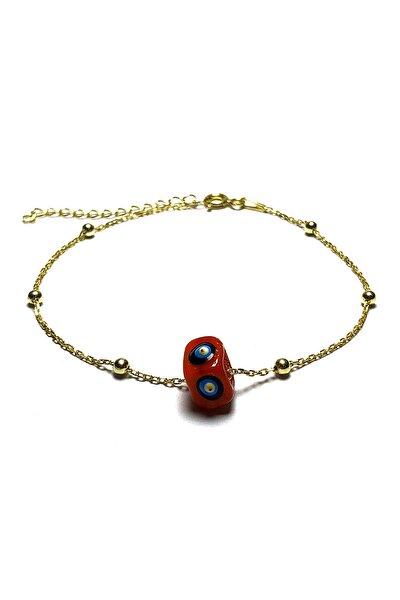 Kadın Kırmızı Nazar Boncuklu Bayan Gümüş Bileklik  MGD2020908D