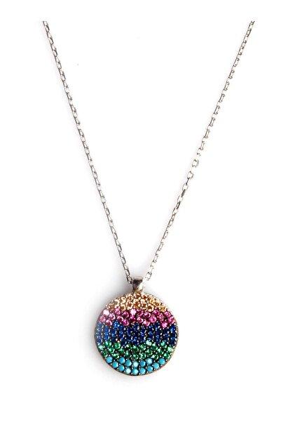Renkli Zirkon Süslemeli Tasarım 925 Ayar Gümüş Kolye KLY-0066-24