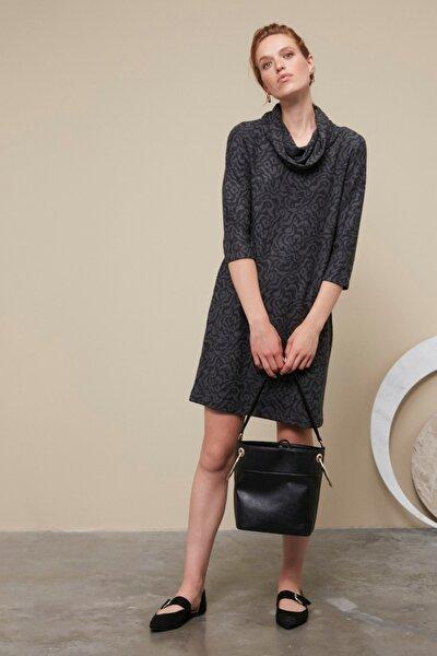 Kadın Koyu Gri 3/4 Kol Yaka Detaylı Midi Elbise 359166