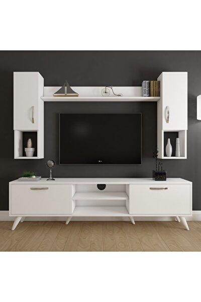 A9 Duvar Raflı Kitaplıklı Tv Ünitesi Duvara Monte Dolaplı Modern Ayaklı Tv Sehpası Beyaz M27