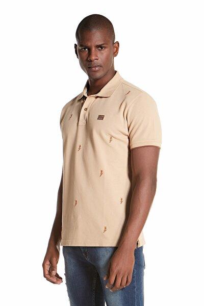 Erkek Kısa Kollu Tilki Nakışlı Croissant Renk Pamuk Polo Yaka Tshirt AD1M0104001