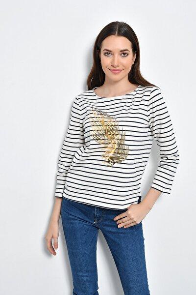 Kadın Beyaz Lacivert Çizgili Altın Tüy Baskılı Bluz HN2278