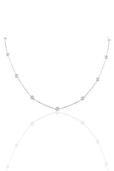 Kadın Gümüş Sıra Taşlı 45 Cm Kolye SGTL9830RODAJ