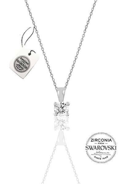 Kadın Gümüş Swarovski Tek Taş Kolye SGTL20505