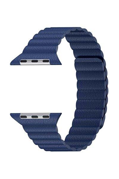 Watch Series 3 42mm Twist Leather Loop Kordon Lacivert