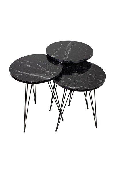 Siyah Mermer Desen Metal Ayak Zigon Sehpa