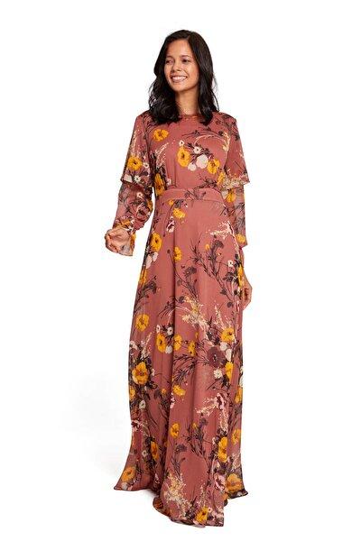 Kadın Taba Volan Kollu Çiçekli Elbise 19KGMZL1010031