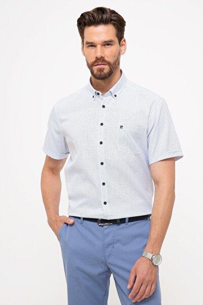 Erkek Mavi Regular Fit Kısa Kollu Gömlek