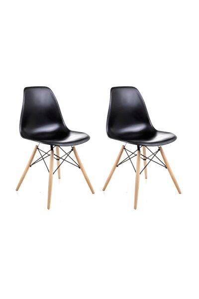 Siyah Eames Sandalye - 2 Adet - Cafe Balkon Mutfak Sandalyesi