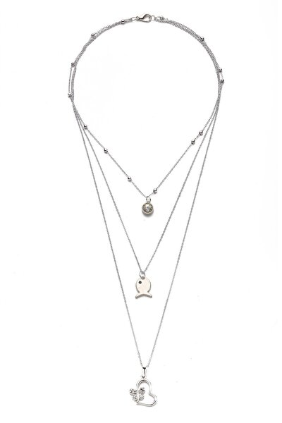 Gümüş Rengi Kalp-Kelebek Figürlü Kolye