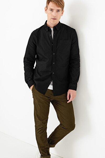 Erkek Siyah Saf Pamuklu Oxford Gömlek T25003200S