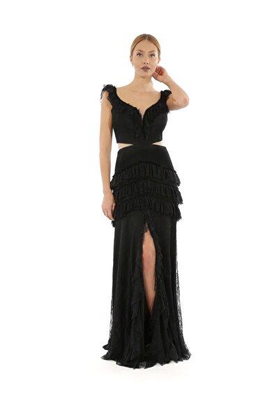 Dantel Fırfır Detaylı Siyah Elbise