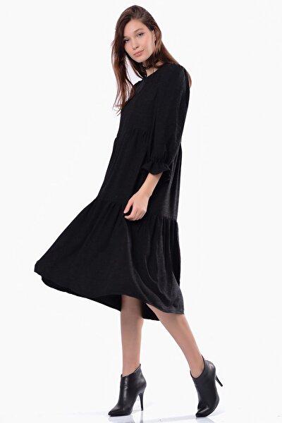 Kadın Siyah Eteği Fırfırlı  Şifon Elbise 5305-1335