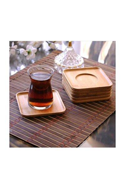 6 Adet Kare Bambu Çay Tabağı