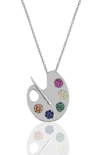 Gümüş Palet Kolye Sgtl10060Rodaj