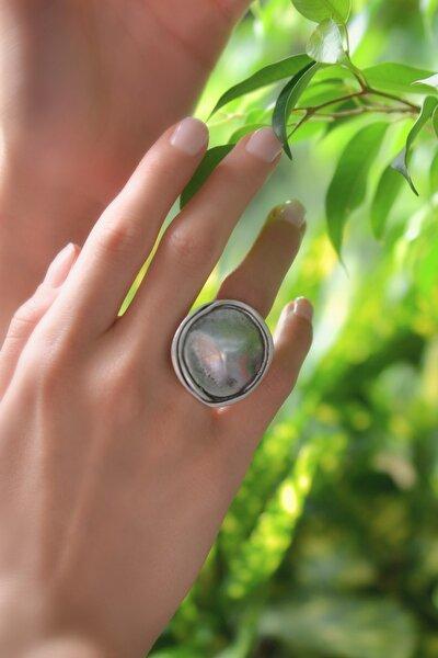Kadın Antik Gümüş Kaplama Yüzük STY0298