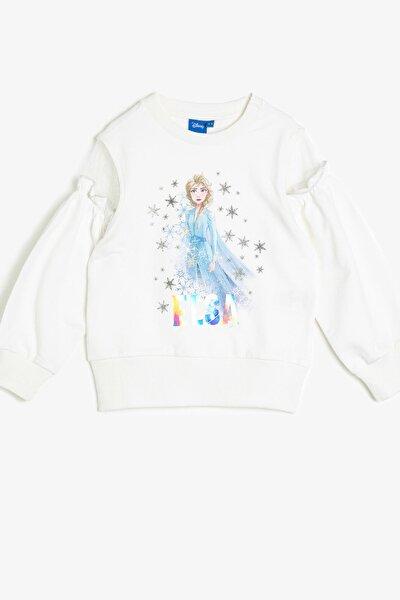 Kız Çocuk Ekru Frozen Baskılı Sweatshirt