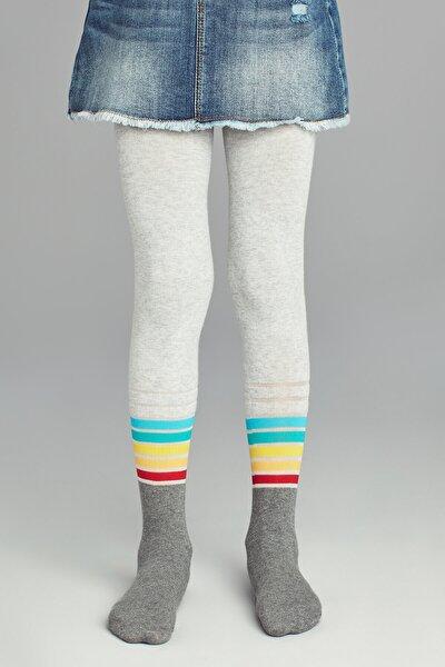 Kız Çocuk Kül Melanj Pretty Stripemuch Külotlu Çorap