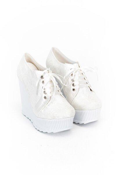 Beyaz Çınar Kadın Dolgu Topuklu Ayakkabı 1203CNR