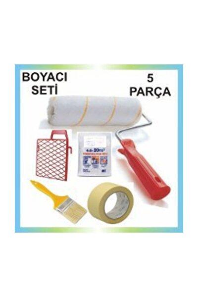 5 Parça Boyacı Seti Fırça-rulo-ızgara-kağıt Bant -örtü