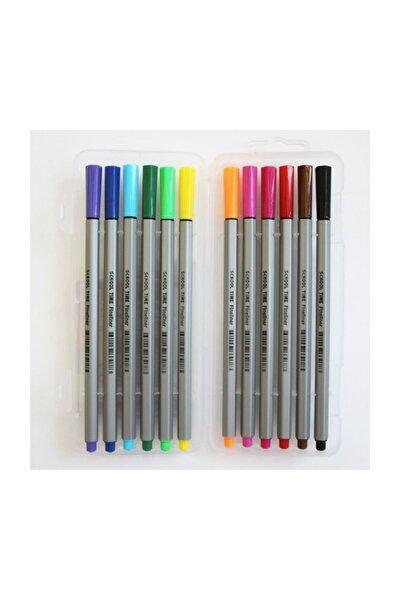 Fineliner Keçe Uçlu Kalem 12 Renk Pvc Kutu