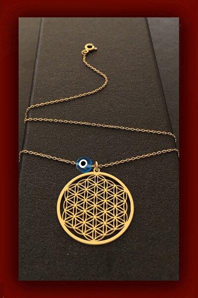 Yaşam Çiçeği Gold Gümüş Kolye Nazarlı