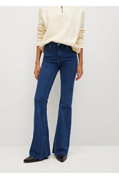 Kadın Koyu Mavi İspanyol Paçalı Flare Jean Pantolon