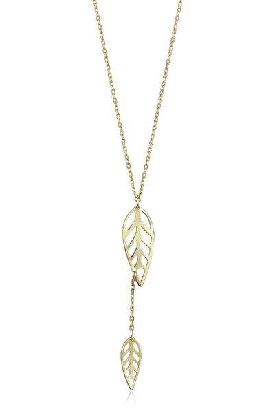 Kadın Altın Yaprak Kolye KLMK7072-24754