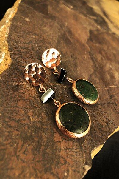Doğaltaş Kadın Rose Altın Kaplama Jade ve Hematit Taşı Küpe KRB497