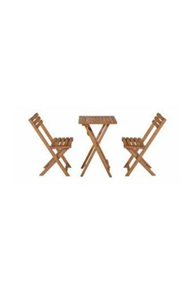 Meşe Renk Katlanır Masa Ve 2 Adet Katlanır Sandalye Set 50x50 cm.