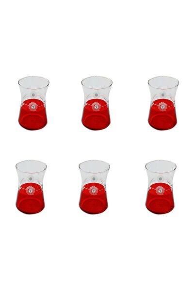 Heybeli Kırmızı(taşlı) Papatya Dekor 6 Adet Çay Bardağı