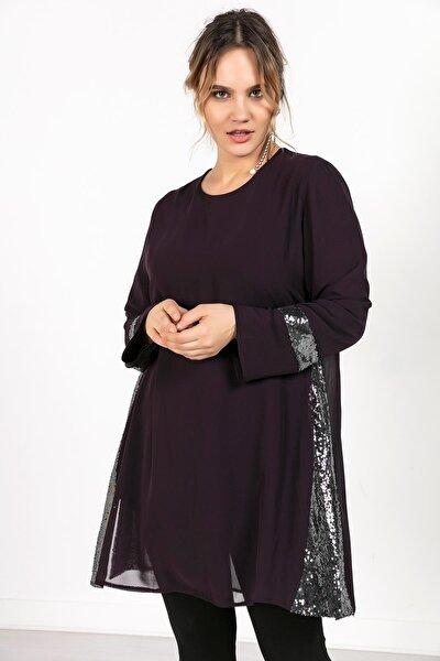 Kadın Mor Kollari Eteği Pullu Üstü Şifon  Büyük Beden Tunik  S-20K2570002