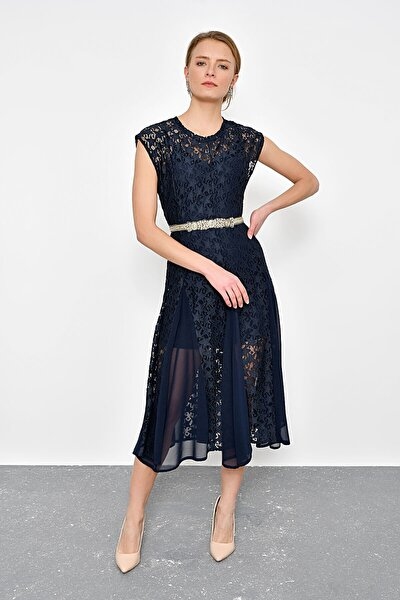 Kadın Lacivert Dantel İçi Astarlı Elbise HN2397