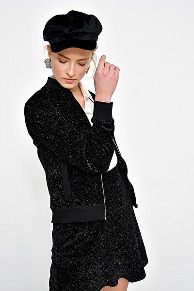 Kadın Siyah Simli Kadife Fermuarlı Ceket HN2405
