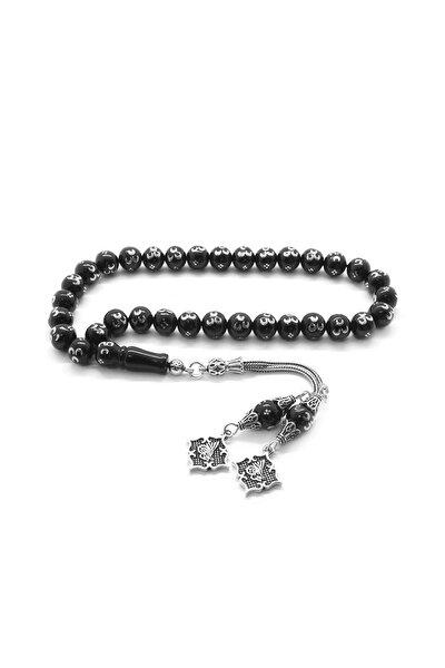 925 Ayar Gümüş Tuğra Püsküllü Gümüş 3 Hilal İşlemeli Küre Kesim Rus Oltu Tesbih 101001967