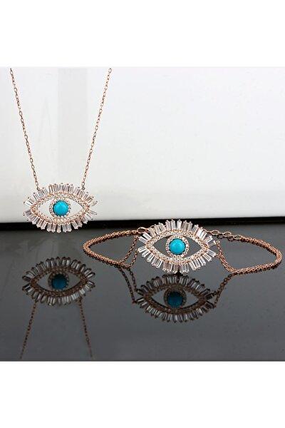 Baget Taşlı Göz Gümüş Kolye Bileklik Kombin