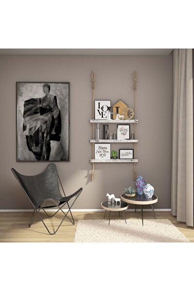 Masif Ağaç Eskitme Beyaz Renk 75x9x4 cm Halatlı Raf