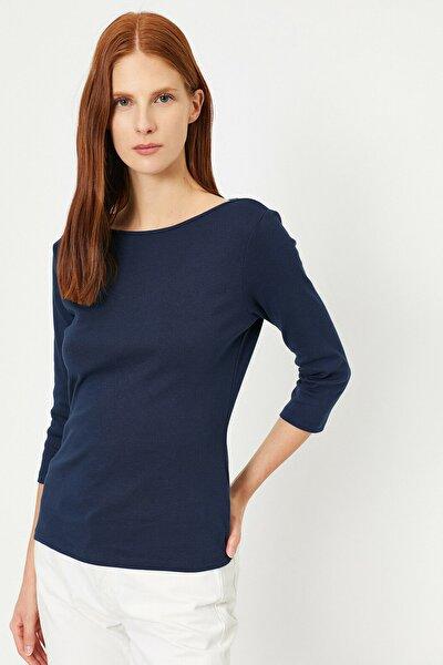 Kadın Lacivert Düz T-Shirt 0YAK13071GK